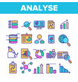 analysing data color line icons set vector image vector image