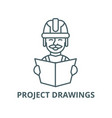 analysis project drawings line icon vector image vector image