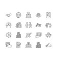 business contract line icons signs set vector image vector image