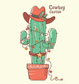cactus christmas with cowboy hat hand drawn vector image vector image