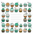 card or cover for an album with cupcakes vector image vector image