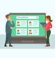 colleagues talk to each other on laptop screen vector image