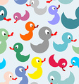Colored rubber duck for bathing seamless pattern vector image