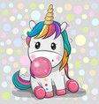 cute cartoon unicorn with bubble gum vector image vector image