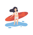 cute girl in swimsuit standing with surfboard on vector image