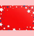 decorative frame with color stars on red vector image vector image