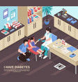 diabetes hospital isometric composition vector image vector image