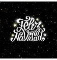 Feliz navidad lettering Merry Christmas greetings vector image
