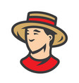 gondolier in a straw hat sign vector image vector image