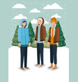 group of men in snowscape with winter clothes vector image