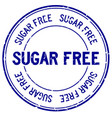 grunge blue sugar free word round rubber seal vector image vector image