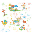 hand-drawn kids doodle set funny character vector image