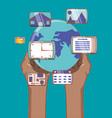 hand holds world social media network multimedia vector image vector image
