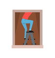 human standing on ladder in front of window man vector image vector image