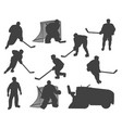 ice hockey players silhouette referee resurfacer vector image vector image
