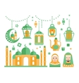 Islamic Religious Holiday Symbols Set vector image