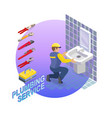 isometric interior repairs concept the plumber vector image