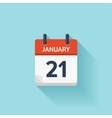 January 21 flat daily calendar icon Date vector image vector image