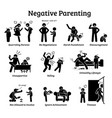 negative parenting child upbringing depict the vector image vector image