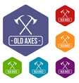 old axe icons hexahedron vector image vector image