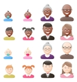 People with age groups light and dark skin icon vector image