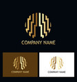 round line geometry abstract gold company logo vector image vector image