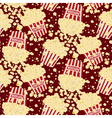 Seamless popcorn bag background vector image vector image