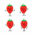 set cartoon strawberrys vector image vector image