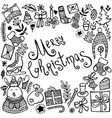 set cute hand-drawn christmas elements vector image vector image