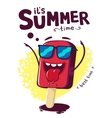 Summer poster funny cartoon character ice cream vector image vector image