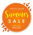 summer sale special offer orange banner vector image