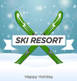 Sunny ski resort and happy holiday vector image vector image