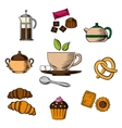 Tea bakery and pastry objects vector image vector image