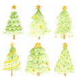 watercolor bright christmas tree collection vector image
