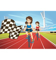 Women racing bike in the field vector image vector image