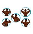 Cartoon posing bodybuilders and athletes vector image