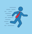 running businessman with red tie stickman vector image