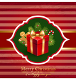 Christmas vintage background with gift vector image
