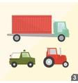 Container truck safari jeep and farm tractor vector image