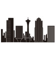 seattle cityscape silhouette vector image