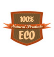 100 eco products label in a shield vector image vector image