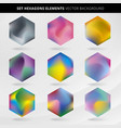 abstract collection label and tab hexagon vector image