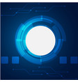 abstract technology white circle blue background v vector image vector image
