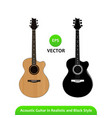 acoustic guitar in realistic and black silhouette vector image