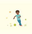 african american boy preparing to kick ball vector image vector image