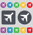 airplane icon sign A set of 12 colored buttons vector image vector image