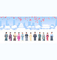 asian people grroup in traditional clothes men vector image vector image