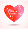 beautiful watercolor heart for valentines vector image vector image