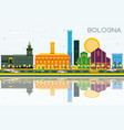 bologna skyline with color landmarks blue sky and vector image vector image