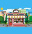 bookstore shop exterior books shop brick building vector image vector image